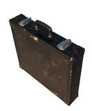 Old black safety briefcase isolated. Old black battered metal safety briefcase isolated on white background Royalty Free Stock Image