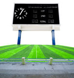 Old black score board in field soccer. Royalty Free Stock Images