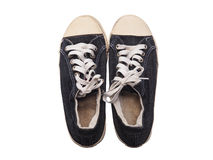 Old black sneakers shoe Royalty Free Stock Photography