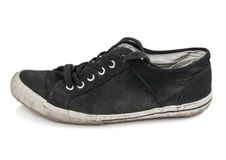Old black sport shoe Royalty Free Stock Images
