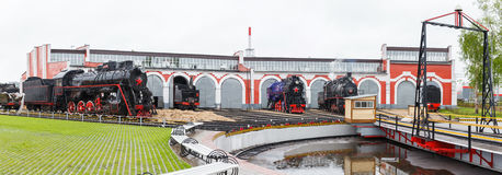 Old black steam locomotive in Russia Royalty Free Stock Image