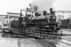 Old black steam locomotive in Russia Royalty Free Stock Images