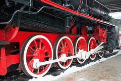Old black steam locomotive wheels Royalty Free Stock Photos