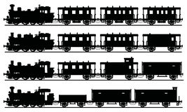 Old black steam trains. Hand drawing of a classic black steam trains - any real models Royalty Free Stock Image