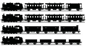 Old black steam trains. Hand drawing of a classic black steam trains - any real models Stock Image