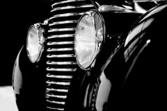 Old black super car from history. Old beautiful black car from history royalty free stock photo