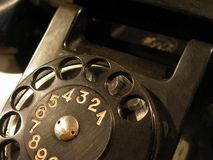 Old black telephone. Close up Stock Images