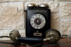 Old black telephone Stock Photos