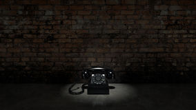 Old black telephone on brick wall. Design made in 3D Stock Photos