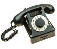 Old, black telephone from the fifties stock photo