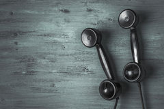 Old black telephone handset stock photos