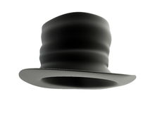 Old Black top hat. On white background Stock Images