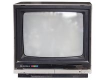 Old tube television with white background royalty free stock images