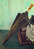 Old black umbrella Royalty Free Stock Photo