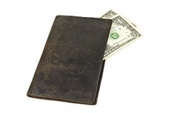 Old black wallet Stock Images