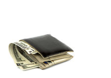 Old black wallet with dollar Stock Photo