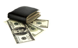 Old black wallet with dollar Royalty Free Stock Images