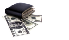 Old black wallet with dollar  isolated Stock Photo