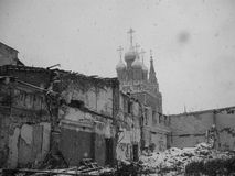 Old  black and white artistic of church in Moscow, Russia Royalty Free Stock Photo