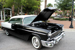 The old Black & White Chevrolet car. The old black & white Chevrolet car at the show Stock Image