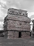 Old black & white construction in Chichen Itza Royalty Free Stock Image