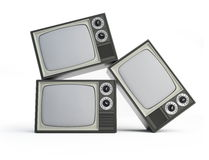 Old black and white TV. Isolated on a white background Royalty Free Stock Photography