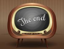 Old black and white TV broadcasts end of the movie. Movie ending screen background. Old black and white TV broadcasts end of the movie. The End. Vector Stock Photo