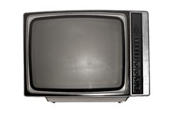 Old black and white TV with a dark screen royalty free stock photo