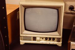 Old black and white TV in room royalty free stock images