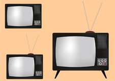 Old black and white TV Royalty Free Stock Images