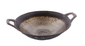 Old black wok isolated on white Royalty Free Stock Photography