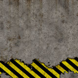 Old Black and Yellow Hazard Stripes Sign Wall Stock Photos