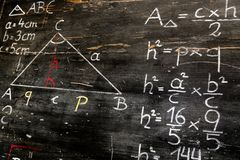 Old blackboard with mathematical calculations and drawings royalty free stock images