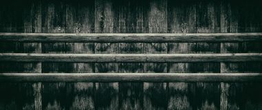 Dark retro background - aged wooden board fence wide panorama stock photo