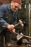 Sword making by blacksmith master in Denizli city, Turkey royalty free stock photo