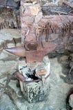 Old blacksmith`s anvil with horseshoe Stock Photo