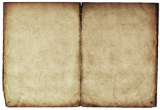 Old blank book open on both pages. Royalty Free Stock Photo