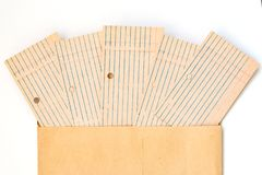 Old blank card files, lined and laid out. Paper for writing on envelopes from craft paper and white background royalty free stock photos