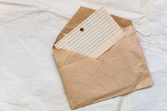 Old blank card files, lined and laid out in retro style. Paper for writing on envelopes from craft paper stock photo