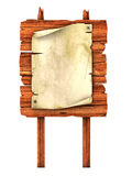 Old blank manuscript on the wooden billboard. 3d illustration Royalty Free Stock Photo