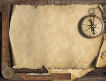 Old blank map background with compass. Adventure and travel concept. 3d illustration. royalty free illustration