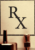 Old blank of medical prescription with syringe and needle Stock Image