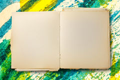 Old blank notebook open Stock Image