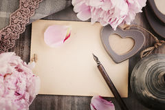 Old Blank Paper Background with Flowers, Love Heart, Pen and Lac Royalty Free Stock Photos