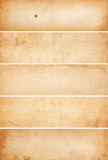 Old, Blank Paper Banners. Collection of five heavily aged and water stained blank paper banners. Isolated on white royalty free stock photography