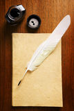 Old blank paper and quill pen Stock Photography