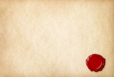 Old blank paper with red wax seal Royalty Free Stock Photo