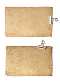 Old blank paper sheets with metal clip Royalty Free Stock Image