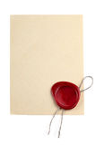Old blank paper with wax seal Royalty Free Stock Image