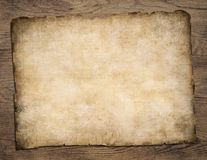 Old blank parchment treasure map on wooden table Stock Photos
